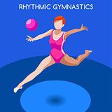 Gymnastics Rhythmic Ball 2016 Summer Games 3D Vector Illustratio