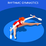 Gymnastics Rhythmic Clubs 2016 Summer Games 3D Vector Illustrati