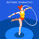 Gymnastics Rhythmic Hoop 2016 Summer Games 3D Vector Illustratio