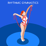 Gymnastics Rhythmic Rope 2016 Summer Games 3D Vector Illustratio