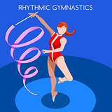 Gymnastics Ribbon 2016 Summer Games 3D Vector Illustration