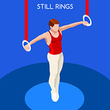 Gymnastics Still Rings 2016 Summer Games 3D Vector Illustration