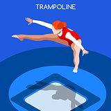 Gymnastics Trampolining 2016 Summer Games 3D Vector Illustration