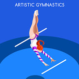 Gymnastics Uneven Bars 2016 Summer Games 3D Vector Illustration
