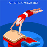 Gymnastics Vault 2016 Summer Games 3D Vector Illustration