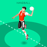 Handball 2016 Summer Games 3D Isometric Vector Illustration