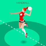Handball 2016 Summer Games Isometric 3D Vector Illustration