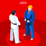 Judo 2016 Summer Games 3D Isometric Vector Illustration