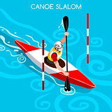 Kayak Slalom 2016 Summer Games Isometric 3D Vector Illustration