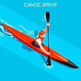 Kayak Sprint 2016 Summer Games Isometric 3D Vector Illustration