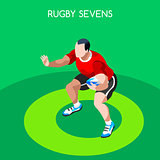 Rugby Sevens 2016 Summer Games 3D Isometric Vector Illustration