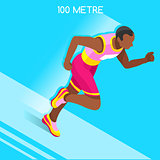 Running 2016 Summer Games 3D Isometric Vector Illustration