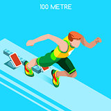 Running 2016 Summer Games Isometric 3D Vector Illustration