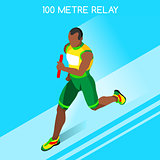 Running Relay 2016 Summer Games 3D Isometric Vector Illustration