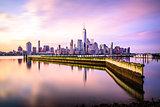 Beautiful sunrise view of Downtown Manhattan