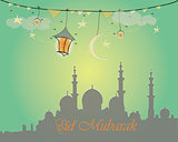 Creative greeting card design for holy month of muslim community festival Eid Mubarak with moon and hanging lantern, stars on green background.