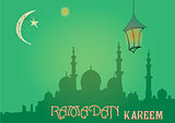 Creative greeting card design for holy month of muslim community festival Ramadan Kareem with moon and hanging lantern, stars on green background.
