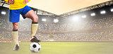 soccer or football player on stadium