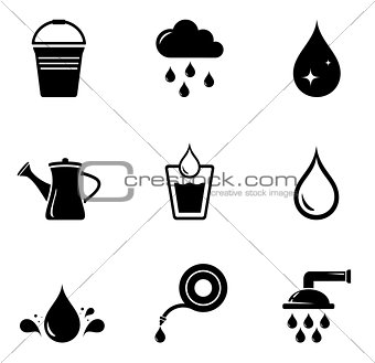 watering isolated silhouette set