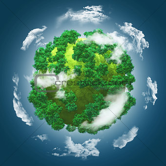 3D grassy globe with trees against a blue cloudy sky