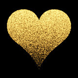 Gold sparkle heart background