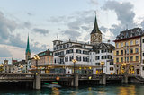 embankment of Limmat river, Zurich, Switzerland