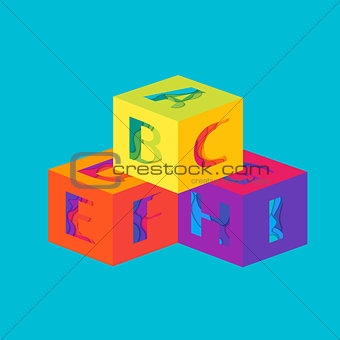 Cubes with letters template.