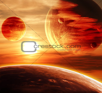 Beautiful sunset, cloud and planet