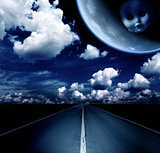 Night landscape with road, clouds and moon
