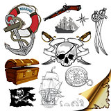 marine theme icons set