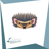 low poly animal icon. vector hedgehog