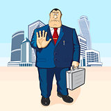 Boss or businessman. Tall buildings