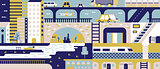 City abstract background flat
