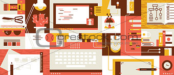 Abstract workspace design flat