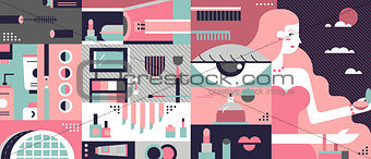Cosmetic background abstract flat