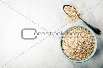 bowl of healthy white quinoa seeds
