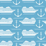 Seamless nautical pattern with ships and anchors