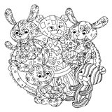 teddy bears and leverets for coloring book