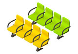 Pair rows armchairs flat vector