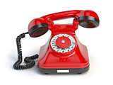 Vintage red telephone isolated on white background. Retro styled