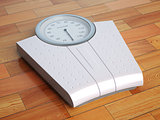 Scales on the wooden floor. Weight control.