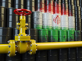Oil pipe line valve in front of the Iranian flag on the oil barr