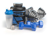Whey protein with dumbbells and shaker. Sports bodybuilding  sup