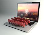 Video player app or home cinema concept. Laptop and rows of cine