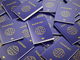 Passports. Travel turism or customs concept background. 3d