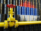 Oil pipe line valve in front of the russian flag on the oil barr