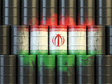 Iranian oil fuel energy concept. Flag of Iran painted on oil bar