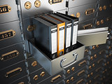Ring binders on a safe deposit box. Confidential information con