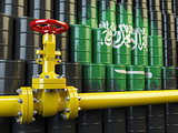 Oil pipe line valve in front of the Saudi Arabia flag on the oil