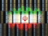 Iranian oil fuel energy concept. Iranian flag painted on oil bar